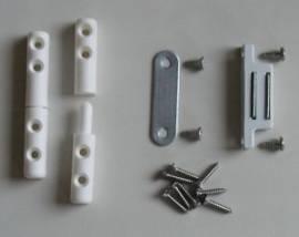 Fiegengitter Scharnier-Set in weiß oder braun - Bild vergrößern